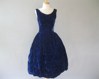 1950s Bubble Dress - Blue Velvet Draped Beaded Skirt  - 50s Prom Dress - Fitted Bodice XS - Evening Formal Dress