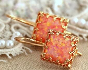 Opal Earrings,Opal Drop Earrings,Fire Opal Earrings,Gift for her,Christmas Gift,Australian Opal,Orange Earrings,Opal Gold Earrings