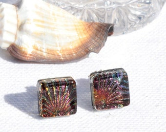"""Small Dichroic Glass Stud Earrings, Fused Glass Jewelry, Sterling Silver, Square - Rustic, Warm, Earth Tones,  3/8"""" or 10mm (Item #30937-E)"""