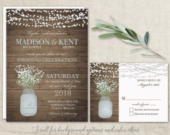 Mason Jar Wedding Invitations Suite - Rustic Country Baby's Breath  blue mason jar Country Wedding Invitations MANY Options Paper Lanterns