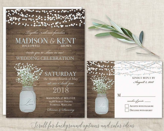 mason jar wedding invitations suite  rustic country baby's breath, Wedding invitations