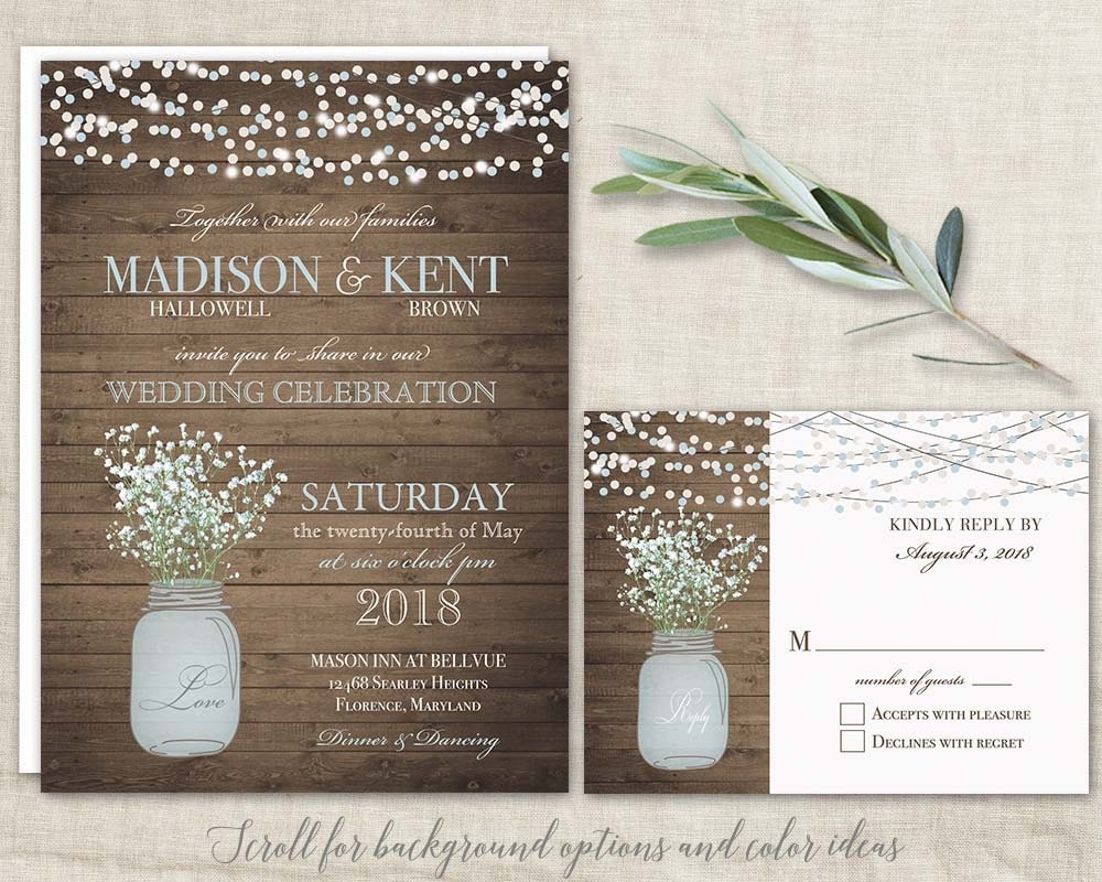 mason jar wedding invitations suite rustic country. Black Bedroom Furniture Sets. Home Design Ideas