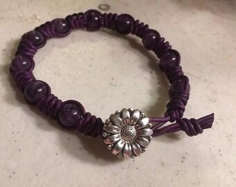 Purple Bracelet - Macrame Jewelry - Amethyst Gemstones - Leather - Fashion - Trendy - Beaded - Silver Flower Button