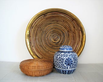 Mid century woven basket with brass rim/boho decor/ metallic accent