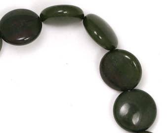 African Green Jasper Beads - 12mm Coin