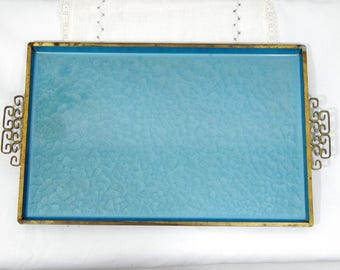 Vintage 50s Kyes,Aqua,Moire Glaze ,Serving Tray,Gold Gilt Handles,Hollywood Glam,Handmade,Made in USA