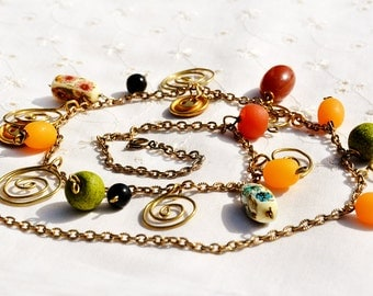 Necklace Colorful Vintage Plastic Bead Necklace Spiral Gold Tone Chain Necklace with Metal Buttons Orange Yellow Green Free Shipping Israel