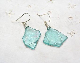 Silver Earrings. Aquamarine Roman Glass Earrings. Silver Jewelry. Roman Glass Jewelry Big Glass Earrings Made in Israel Free Shipping