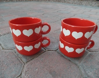 Set of 4 Waechtersbach Red Heart Coffee Cups Mugs