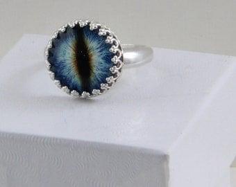 Handmade Blue Dragon Eye Set By Hand in Sterling Ring size 8 Taxidermy Eye 14mm Glass Eye Eyeball Ring Oscarcrow