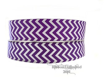 10 Yds. WHOLESALE 1.5 Inch Purple & White Chevron grosgrain ribbon LOW SHIPPING Cost