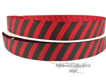 100 Yards 7/8 Inch Red and Black Diagonal Stripe Grosgrain Ribbon