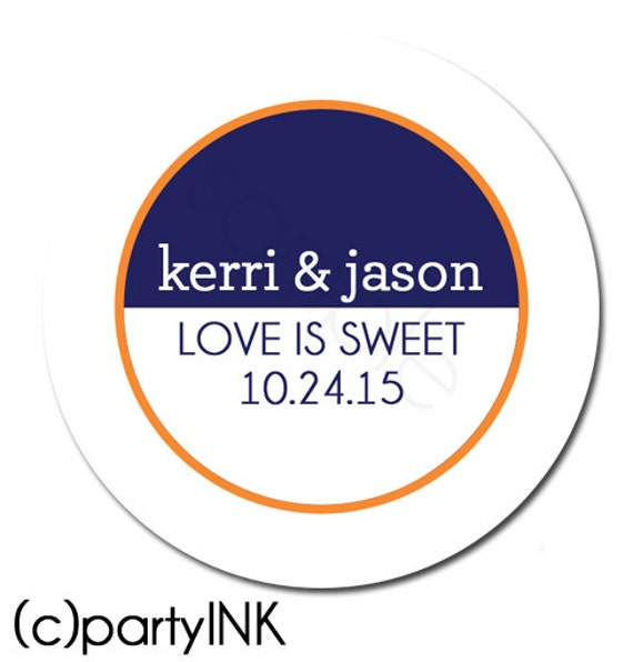 Personalized Sleek and Chic Custom Wedding Stickers - Wedding Favor Stickers, Personalized Stickers, Bridal Shower - Choice of Size