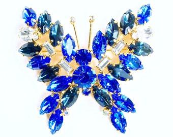Blue Rhinestone Crystal Gold Butterfly Brooch Pin Jewelry Juliana Style