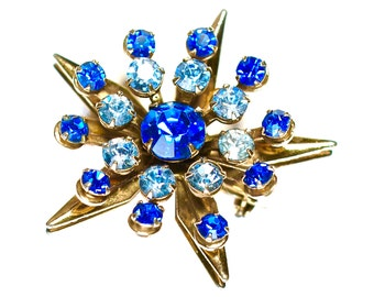 Vintage Art Deco Blue Rhinestone Star Brooch Pin Jewelry