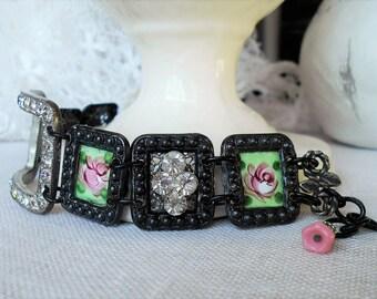 Vintage assemblage bracelet rhinestone buckle guilloche enamel roses deco links one-of-a-kind Triolette jewelry