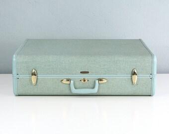 Large Vintage Samsonite Suitcase, Blue Tweed Suitcase, Vintage Luggage Suit Case, Samsonite Luggage, Vintage Travel