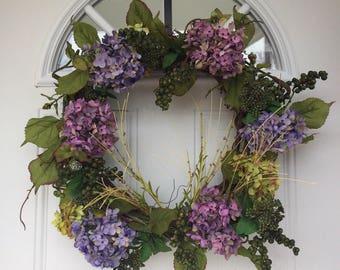 Hydrangea Wreath, spring wreath, summer wreath, front door wreath, outdoor wreath, outdoor door wreath, door decor, door hanging, wreath