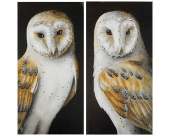 Barn Owl paintings SET OF 2 - woodland owl art - autumn owl decor - original canvas wildlife painting - fall color neutrals - tyto alba