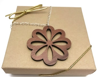 Walnut Wood Flower Necklace, Laser Cut Necklace, Sliver Chain