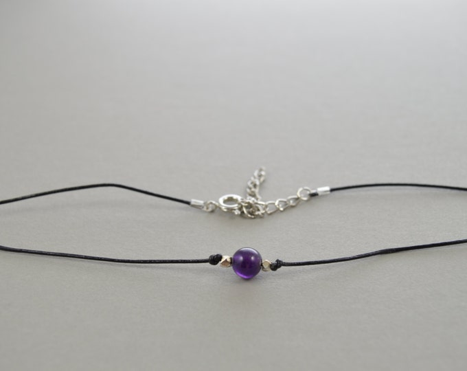 Amethyst choker necklace, leather cord choker, gemstone choker, thin choker, choker necklace, dainty choker, gemstone crystal choker