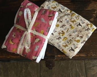 Baby  Double Gauze Cotton Burp cloths gift set.