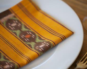 Set of 2 GENUINE IKAT hand woven cloth napkins -  Balinese Ikat