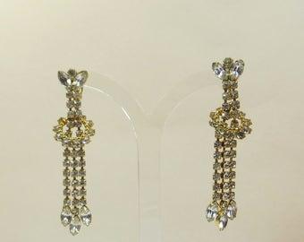 Vintage Rhinestone Dangle Clip On Earrings; Perfect Vintage Wedding Clip Earrings, 1980s Long Rhinestone Crystal Non Pierced Earrings