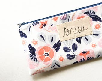 Personalized Friend Gift, Zipper Pouch, Zipper Bag, Modern Floral Organizer Case, Gift for Friend Birthday, Navy Blue, Coral, Plus Signs