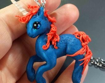 Fancy Electric Blue Unicorn Pendant polymer clay art Orginal