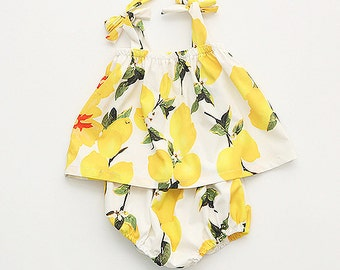 SALE Yellow Lemon Leaves Girl Dress BloomersToddler Baby Cotton Marie Antoinette Body Suit Frock Infant Cute Tie Straps Woodland Daisy Top