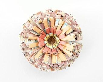 Vintage Paper, Handmade Flower as Magnet or Ornament - Pink, Purple, Peach, Decor, Unique, Cute, Text, Flower, Kitchen, Hostess, Fridge