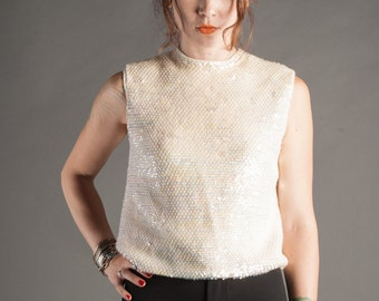 Iridescent Sequin Sweater Tank