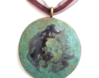 Green Ceramic Pendant Earthy Round Clay Dramatic Necklace Organic Rustic Contemporary Pendant Modern Pottery Art Jewelry
