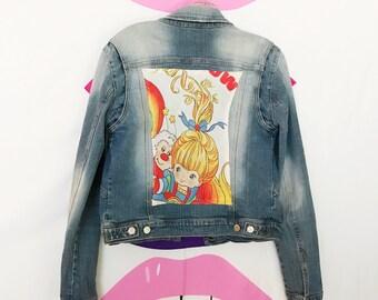 Rainbow Brite back patch womans denim jacket medium