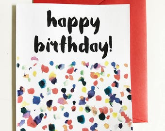 Happy Birthday Confetti Watercolor single note card