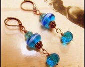 Bright Blue Earrings, Greek Sea Glass, Turquoise Blue Art Glass & Crystal Vintage Style, Downton Abbey Earrings in Azure