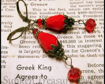 Richly Red Art Deco Earrings, Red Art Glass Art Deco Earrings, Downton Abbey Red Earrings, Czech Art Glass Red Earrings, BoHo Red Earrings