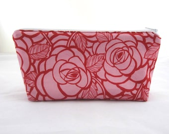 Pink Roses Fabric Stand Up Zipper Pouch / Make Up Bag