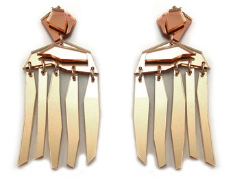 FACETED FRINGE Statement Earrings - Big Earrings, Pink Earrings, Dangle Earrings, Modern Earrings, Geometric, Architectural