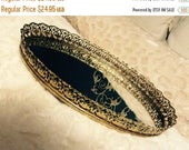 """MOTHERS DAY SALE Vintage Gold Filigree Dresser Mirror Tray Vanity Tray 13.5"""" Flower Bouquets Gold Plated Footed 1960s"""