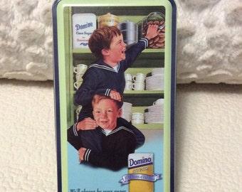 15% SALE Vintage Domino Sugar Tin Container Aqua Blue Sailor Boys Americana Advertising