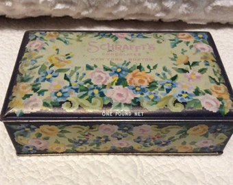 Vintage SCHRAFFTS Rose Tin Box founded 1861 in Boston Massachusetts Americana Advertising