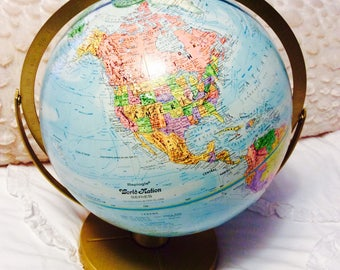 "Vintage Replogle Globe World Nation Globe Double Axis 12"" Raised Typography"