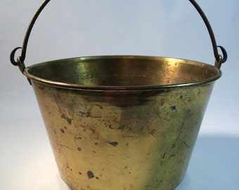 Brass Jelly Kettle C. 1851 H. W. Hayden 19th C. Cooking Utensil Brass Bucket