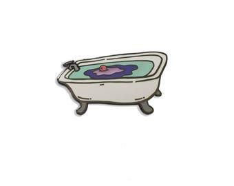 Enamel Pin: Bath Tub with melting bath bomb