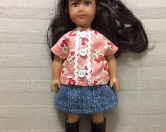 Mini AG doll jean skirt and top