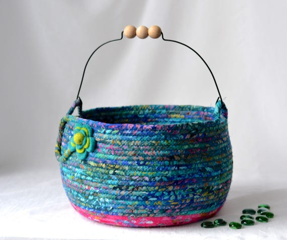 Farmer Yarn Basket, Country Flower Girl Basket, Handmade Rustic Batik Basket, Teal Blue Fiber Basket Decoration