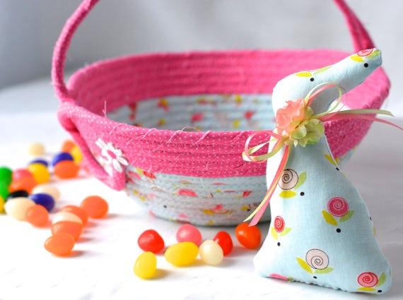Flower Girl Basket, Baby Easter Basket and Cute Matching Easter Bunny, Handmade Easter Basket, Pink Spring Basket, Pink Easter Decoration