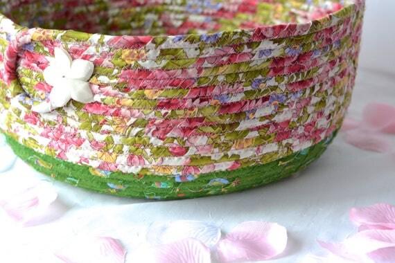 Shabby Chic Basket, Magazine Rack, Handmade Pink Floral Basket, Green Shower Gift Basket, Family Room Decor, Pretty Pink Storage Organizer